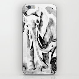 Elephant eskimo kiss black and white iPhone Skin