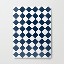 Large Diamonds - White and Oxford Blue Metal Print