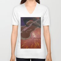 cello V-neck T-shirts featuring Cello Played in (d)ea Minor  by Dea Paige