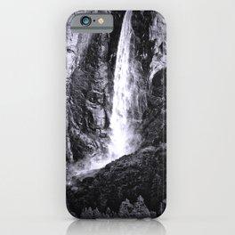 Bridalveil Falls. Yosemite California in Black and White iPhone Case