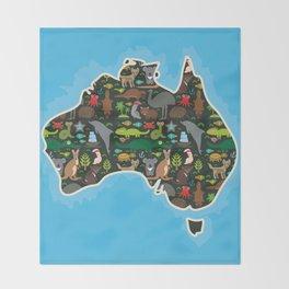 map of Australia. Wombat Echidna Platypus Emu Tasmanian devil Cockatoo kangaroo dingo octopus fish Throw Blanket