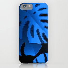 Royal Blue Jungle Palm Leaves Pattern iPhone Case