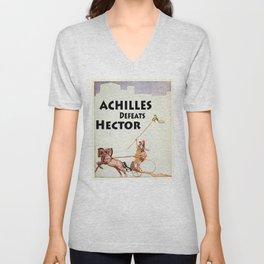 Achilles Kills Hector in The Illiad Illustration (1918) Unisex V-Neck