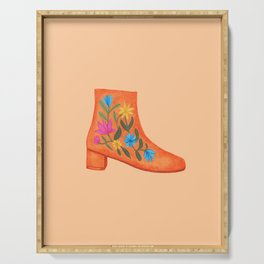 These boots are made for walking | Embroidered ankle boots Serving Tray