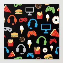 Video Game Party Snack Pattern Canvas Print