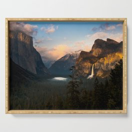 Yosemite National Park - Bridalveil Fall Tunnel View at Dusk Serving Tray