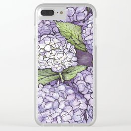 Hydrangea - Watercolor and Ink artwork Clear iPhone Case