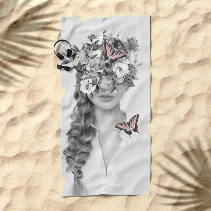 woman with flowers and butterflies 9a Beach Towel
