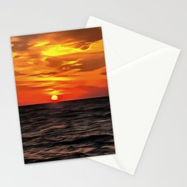 Sunset Over The Mediterranean Sea Stationery Cards