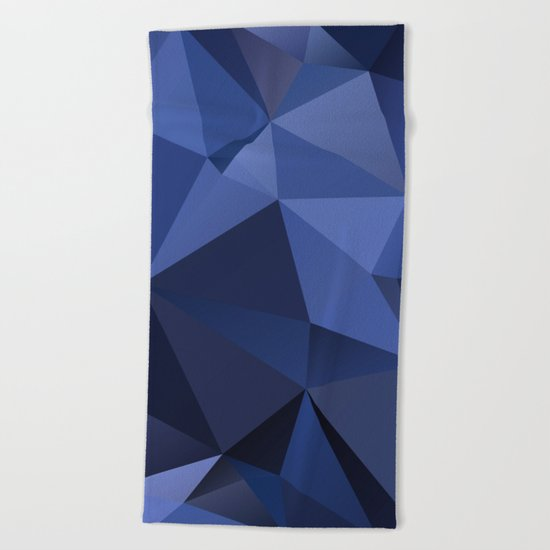 Abstract of triangles polygon in navy blue colors Beach Towel