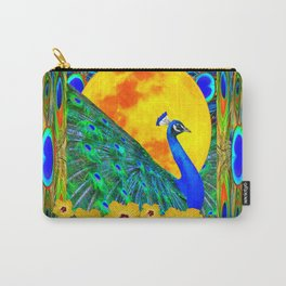 YELLOW HIBISCUS FULL GOLDEN MOON  BLUE PEACOCKS Carry-All Pouch