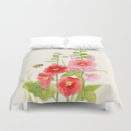 Watercolor Flower Pink Hollyhock and Bee Duvet Cover