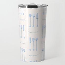 Cute set of spoon, knife and fork illustration Travel Mug