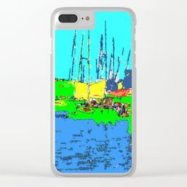 Impression of St. Tropez harbor Clear iPhone Case