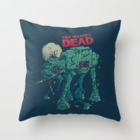 dead Throw Pillows featuring Walker's Dead by Victor Vercesi