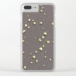 VALENTINE HEARTS - Gold Hearts & Dark Pinstripe Clear iPhone Case