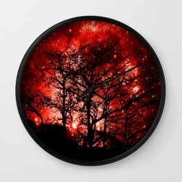 black trees red space Wall Clock