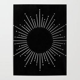Sunburst Moonlight Silver on Black Poster