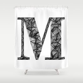 ''City Collection'' - Minimal Letter M Print Shower Curtain