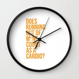 Wine Connoisseur Funny Running Out Of Wine As A Cardio Wall Clock