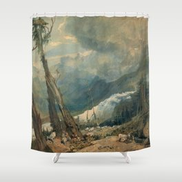 "J.M.W. Turner ""Mer de Glace, in the Valley of Chamouni"" Shower Curtain"