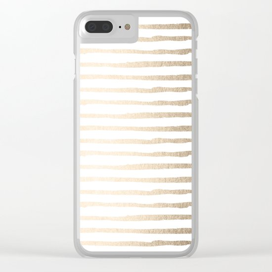 White Gold Sands Thin Stripes Clear iPhone Case