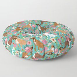 Boxer dog breed florals flower dog pattern gifts for pure breed lovers boxers Floor Pillow