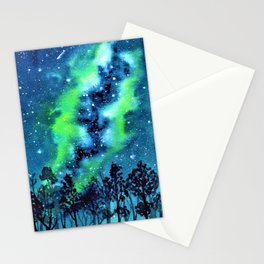Green and Blue galaxy watercolor painting Stationery Cards