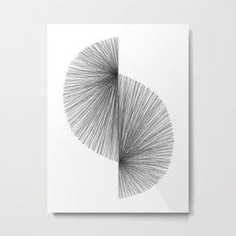 Mid Century Modern Geometric Abstract S Shape Line Drawing Pattern Metal Print