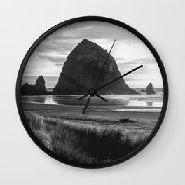 Cannon Beach Sunset - Black and White Nature Photography Wall Clock