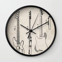 Bass Guitar Patent - Bass Guitarist Art - Antique Wall Clock