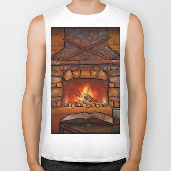 Fireplace (Winter Warming Image) Biker Tank