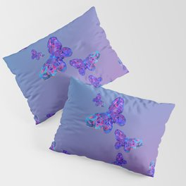 Blue and Purple Butterfly Pattern Pillow Sham
