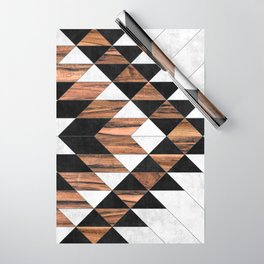 Urban Tribal Pattern No.9 - Aztec - Concrete and Wood Wrapping Paper