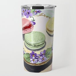 Macarons on an Antique Plate in Gouache Travel Mug