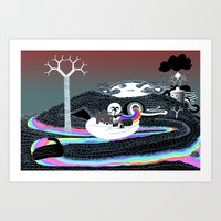 The Attractions by a Metallic River Art Print