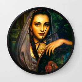 Jesus Helguera Painting of a Calendar Girl with Dark Shawl Wall Clock
