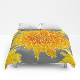 Golden Yellow Chrysanthemums grey color Art Design Comforters