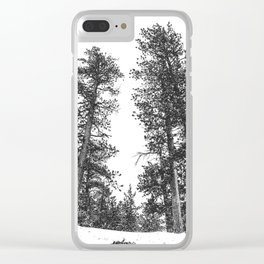 Snowscape Sky // Winter Trees Black and White Landscape Snow Ski Snowboard Photography Clear iPhone Case
