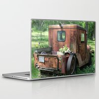 jeep Laptop & iPad Skins featuring Red Jeep with Flowers by Julia Leffelman