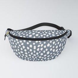 Handmade polka dot brush spots (white and slate gray/blue) Fanny Pack
