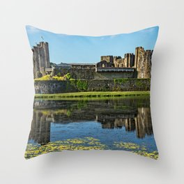 The Towers Of Caerphilly Castle Throw Pillow