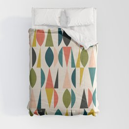 Mid Century Modern Abstract Colorful Shapes Funky Cool Minimalist Pattern Comforters