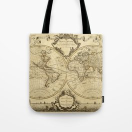1720 Old World Map Historic Map Antique Style World Map Guillaume de L'Isle mappe monde Wall Map Tote Bag
