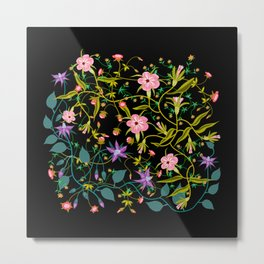 Wild Flowers on Black Ground Metal Print