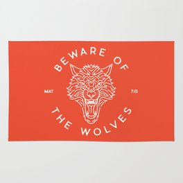 Beware of the Wolves (white) Rug