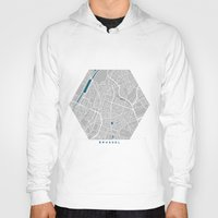 brussels Hoodies featuring Brussels city map grey colour by MCartography