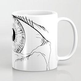 Human Eye Crying Tears Flowing Drawing Coffee Mug