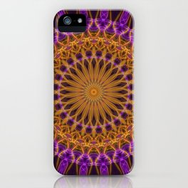 Pretty violet and golden mandala iPhone Case
