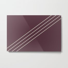 Deep Purple Taupe Gray Stripe Diagonal Pattern 2021 Color of the Year Epoch and Fondue Metal Print